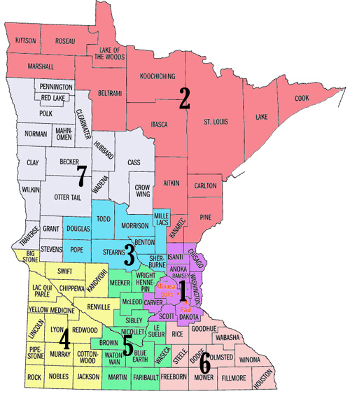 Minnesota map by regions